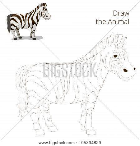 Draw the animal educational game  zebra