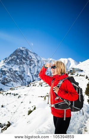 Woman Hiker Happy Hiking, Inspirational Landscape