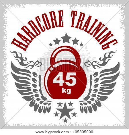 Bodybuilding emblem in vintage style.