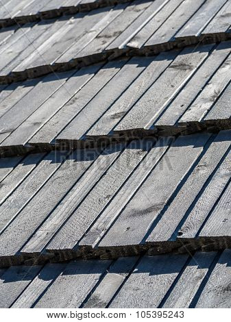 Closeup of wooden shingle roof