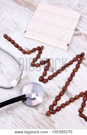 Cardiogram Line Of Roasted Coffee Grains And Stethoscope, Medicine And Healthcare Concept