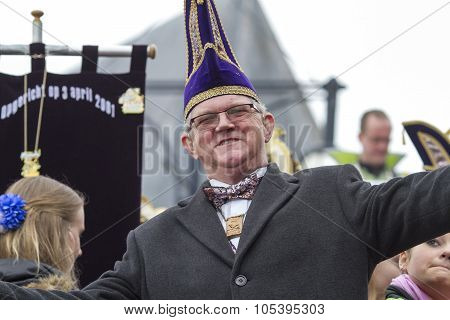 OLDENZAAL, NETHERLANDS - MARCH 6, 2011: Masters of carnival during the annual carnival parade  in Ol