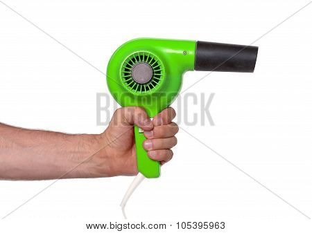 Old Green Hairdryer In Hand