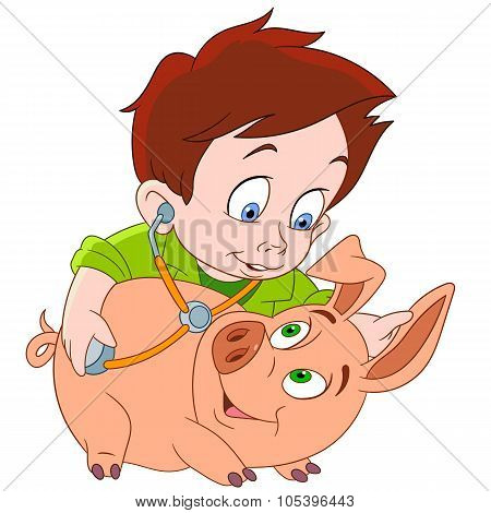 Veterinarian And Pig