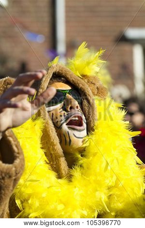 OLDENZAAL, NETHERLANDS - MARCH 6, 2011: People in colourful carnival dress during the annual carniva