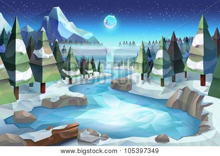 Winter forest, vector background low poly style