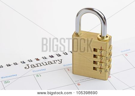 New Year Padlock On A Generic 2016 Calendar