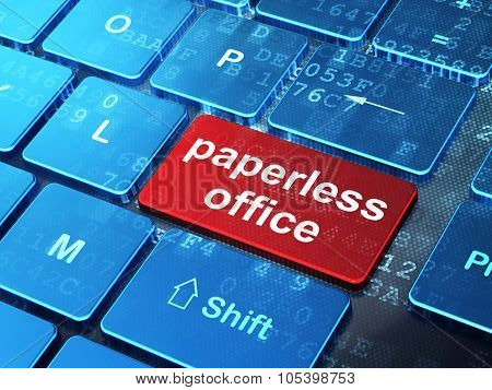 Business concept: Paperless Office on computer keyboard background