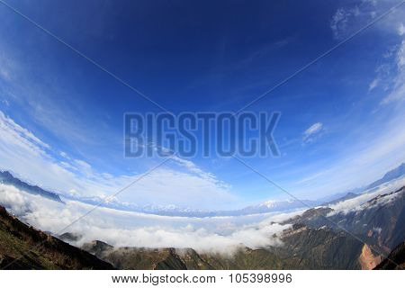 Beautiful Rolling Clouds And Snow Mountain Landscape
