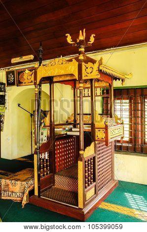 Mimbar of Air Barok Mosque at Jasin Malacca, Malaysia