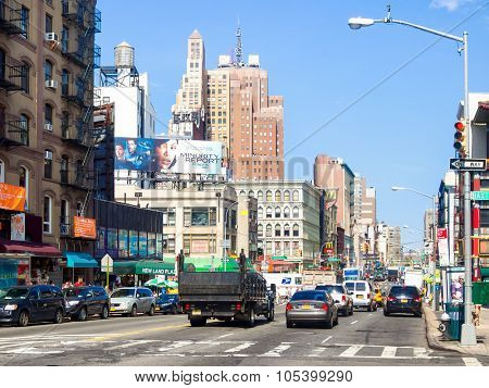 NEW YORK,USA - AUGUST 21,2015 : Canal Street at Chinatown in New York City