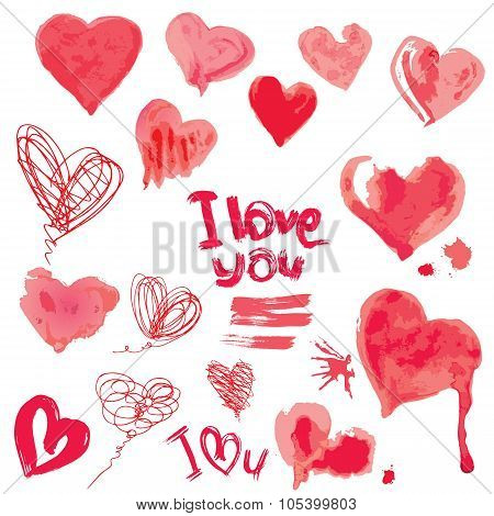 Set Of Grunge Aquarelle Hearts And Words  I Love You - Elements For Valentines Day Design.