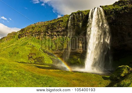 Seljalandsfoss waterfall of river Seljalandsa, south Iceland