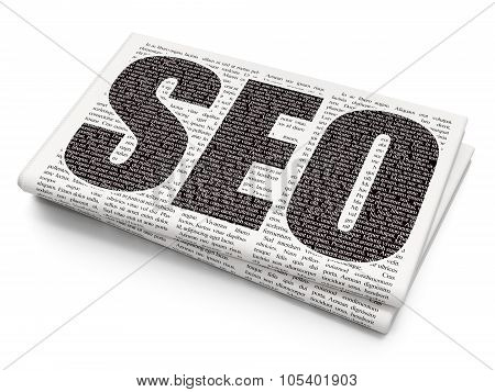 Web design concept: SEO on Newspaper background