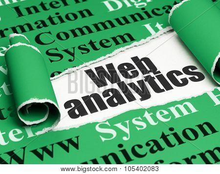 Web design concept: black text Web Analytics under the piece of  torn paper