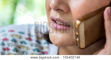 Close Up Woman On Phone
