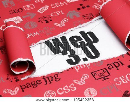 Web design concept: black text Web 3.0 under the piece of  torn paper