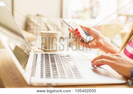 Woman using technology