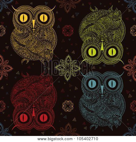 Vector illustration of owl. Bird illustrated in tribal.Owl whith