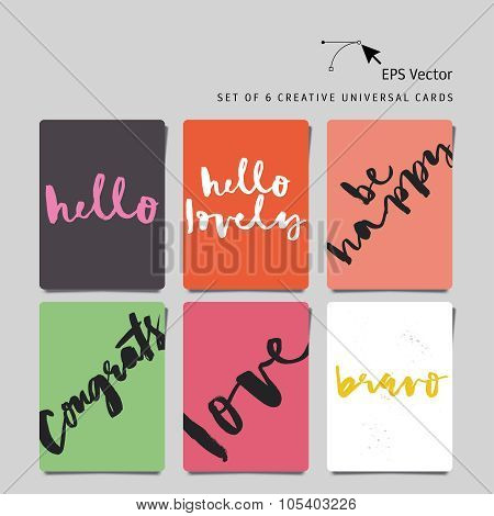 Set of greeting cards. Love. Congrats. Be happy. Bravo. Hello lovely.