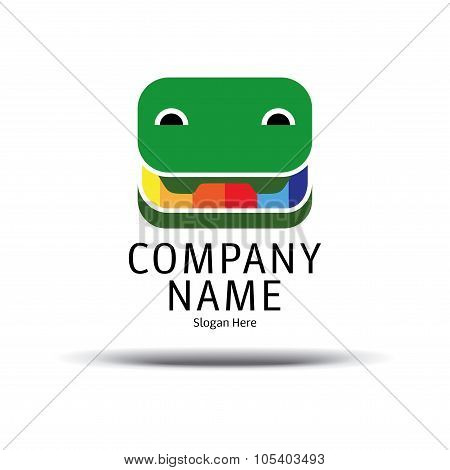 Cheerful Crocodile Pencil Box Logo. Green Crocodile Icon Vector. Branding Identity Corporate Logo De