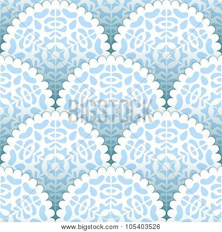 Christmas paper doilies snowflakes seamless pattern in blue and white, vector