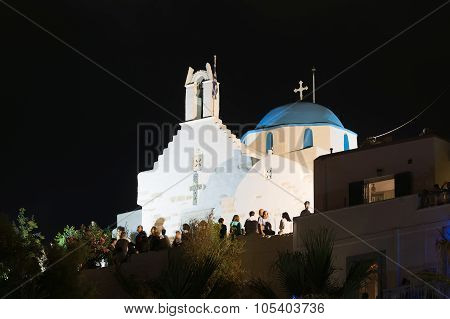 Paros, Greece, 15 August 2015. People are dancing a traditional dance in the big festival.