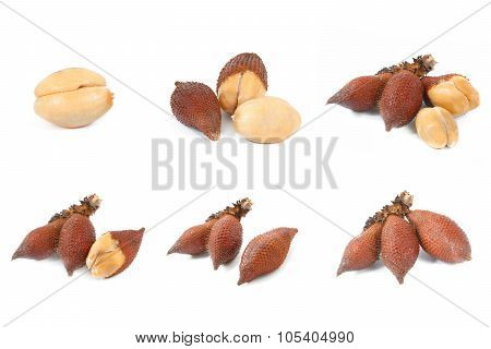 Collection Of Salak Snake Fruit Isolated On White Background