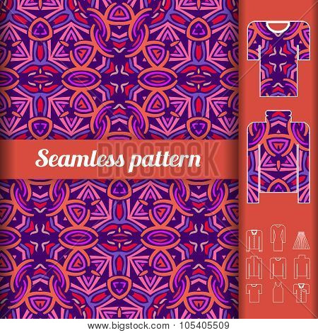 African Style Seamless Pattern With Examples Of Usage. Repeating Ornament For Fashion Clothes