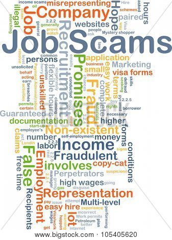 Background concept wordcloud illustration of job scams