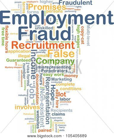 Background concept wordcloud illustration of employment fraud