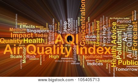 Background concept wordcloud illustration of air quality index AQI glowing light
