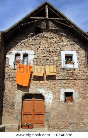 Hecho Valley Village Stone Streets In Pyrenees
