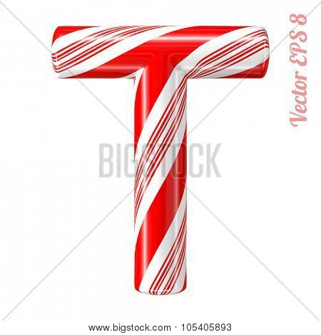 Mint hard candy cane vector alphabet collection striped in Christmas colours. Letter T. Eps 8 using mesh.