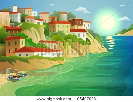 Coastal sea village living colorful poster