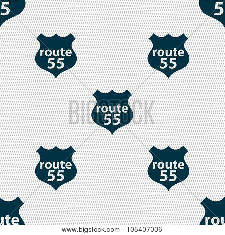 Route 55 Highway Icon Sign. Seamless Abstract Background With Geometric Shapes. Vector