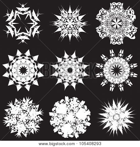 Stencil Set Of Snowflakes