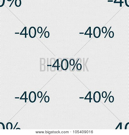 40 Percent Discount Sign Icon. Sale Symbol. Special Offer Label. Seamless Abstract Background With
