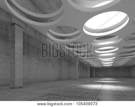 Empty Concrete Interior With Round Illuminators