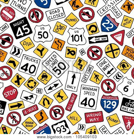 Seamless Pattern Of Cartoon American Road Signs.