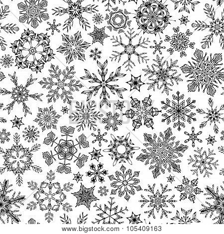 Seamless Snowflakes Pattern.