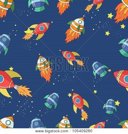 Seamless pattern cartoon rocket vector illustraion