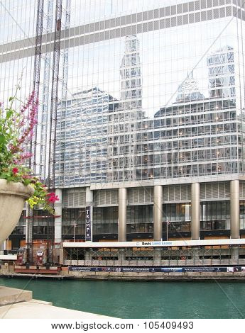 Trump Tower facade and Chicago rive