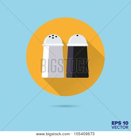 salt and pepper shakers flat design vector icon