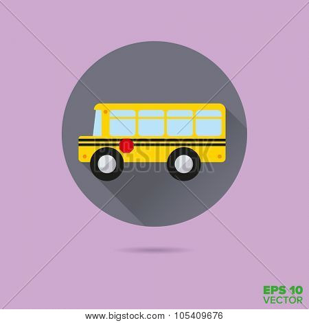 yellow school bus flat design vector icon