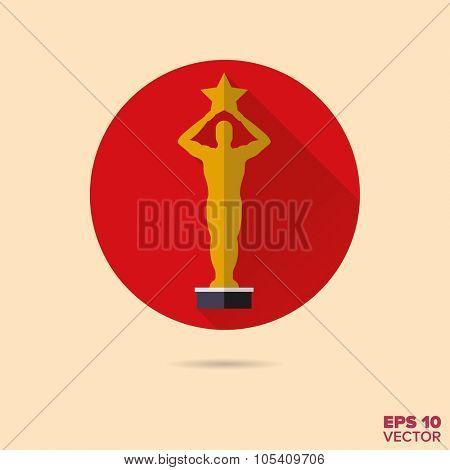 golden movie award flat design vector icon