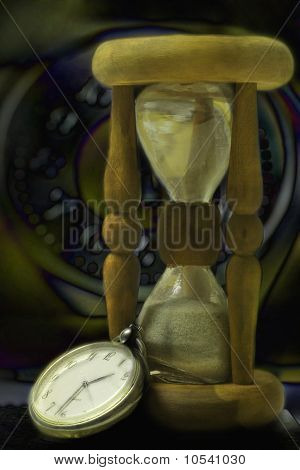 Hourglass And Clock. Night Time