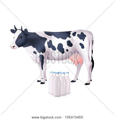 Cow And Milk Bottles