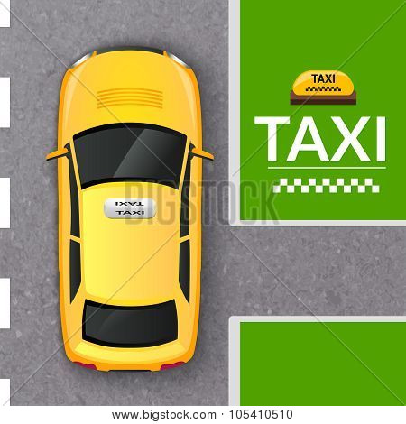 Yellow taxi cab top view banner