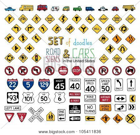 Vector Set Of Doodles Road Signs And Vehicles.